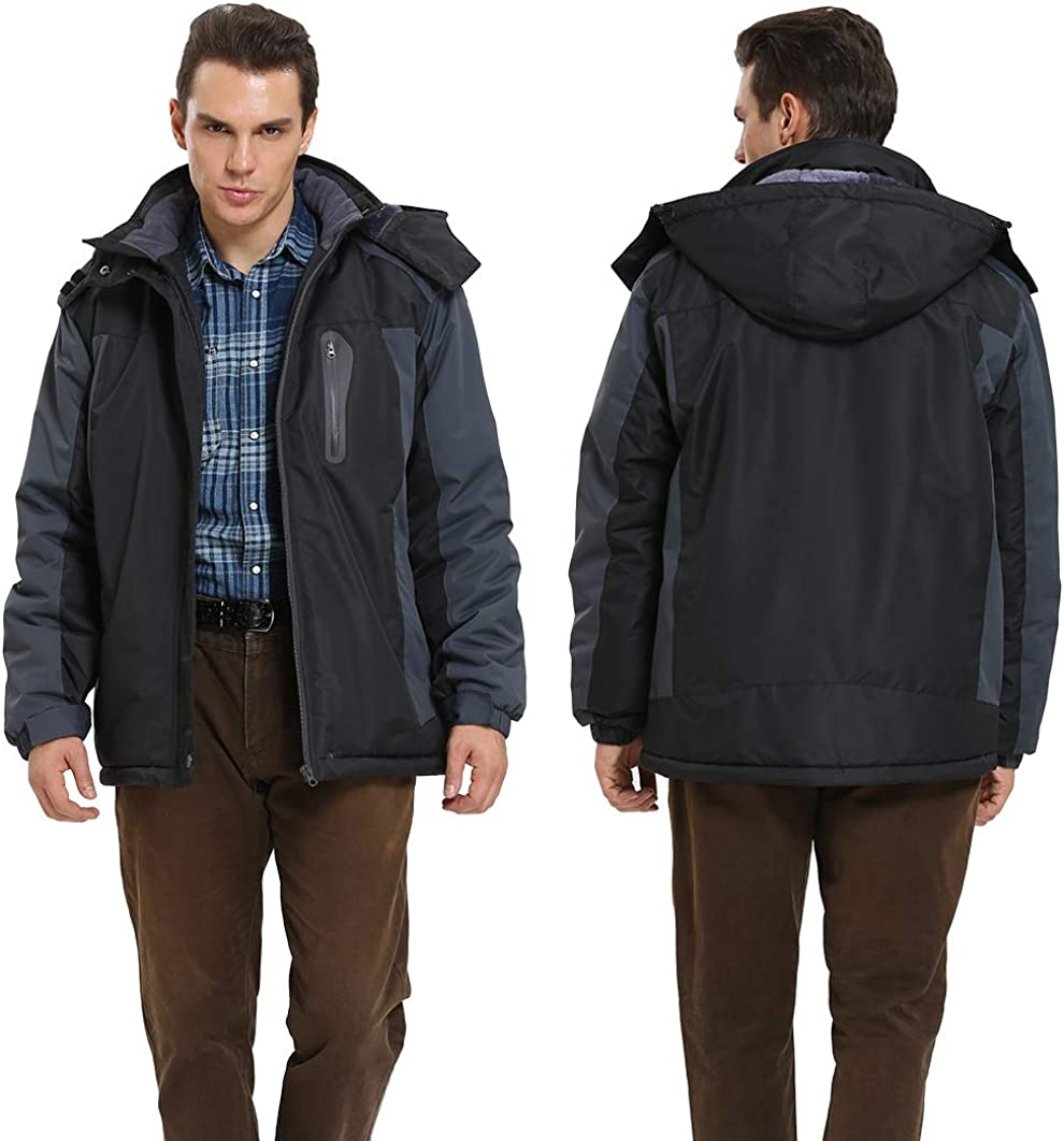 4HOW Mens Ski Snow Jacket Water Resistant Hooded Winter Coats