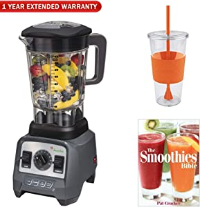 Jamba Appliances 2.4 hp Blender with 64 oz Jar (58910) w/Warranty Bundle Includes, Eco First Tumbler 24 Ounce Togo Cup Mug, The Smoothies Bible (Paperback) & 1 Year Extended Warranty
