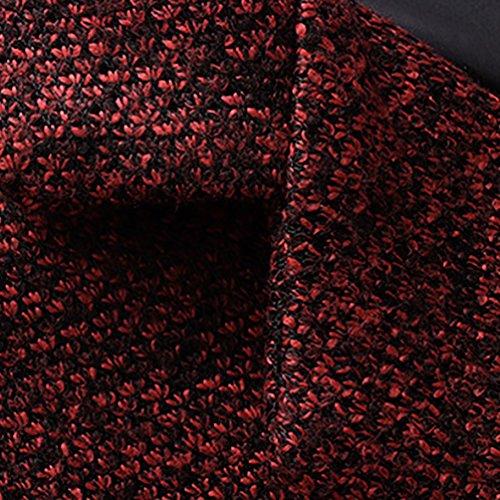 Abrigo Espeso Largo Los Hombres de YiJee Sólido de Color Rojo Invierno Outwear 4nqxndz
