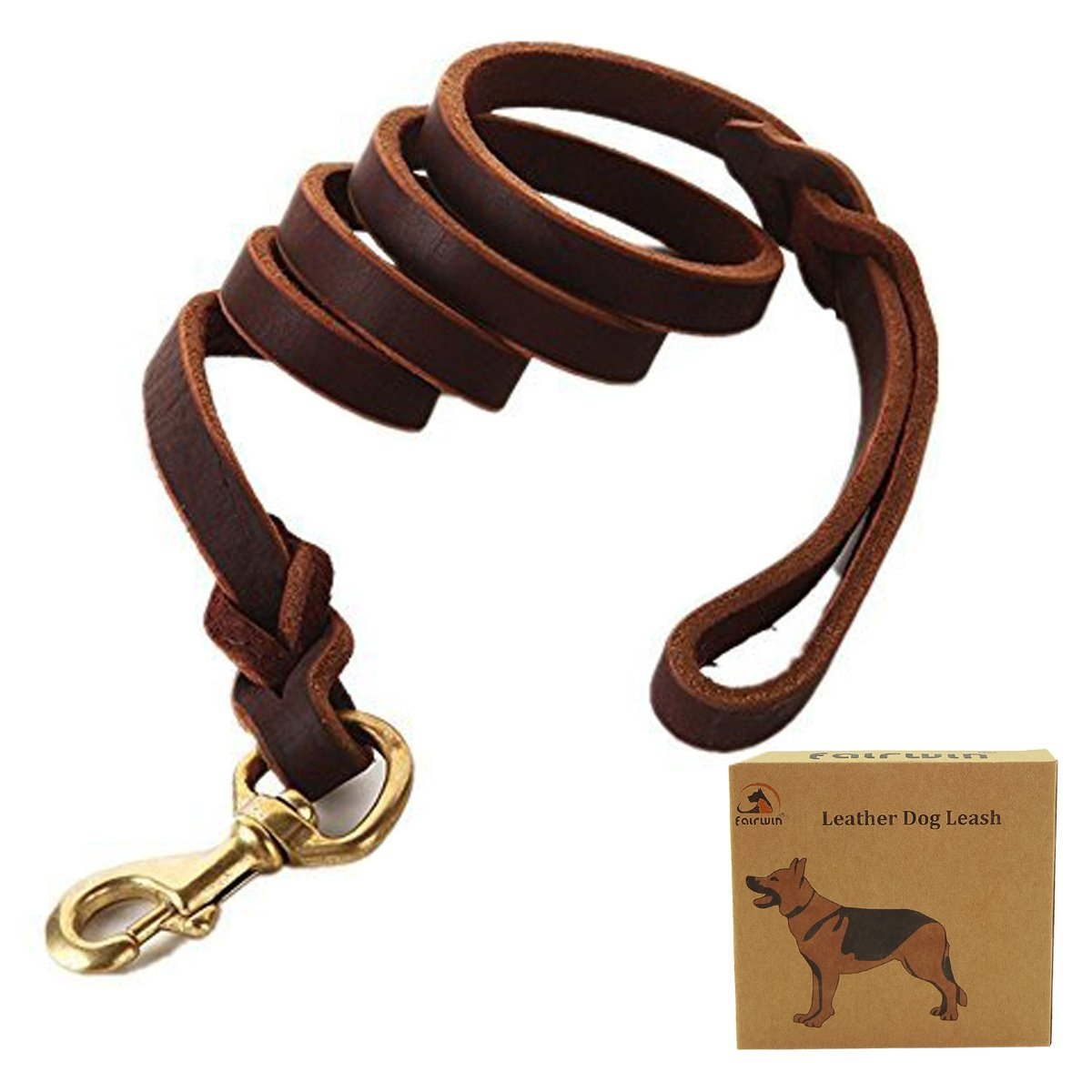 Fairwin Braided Leather Dog Training Leash 6 Foot - Best Dog Leather Leashes Heavy Duty for Large Small Dogs (3/4'' Width, Brown) 004 by Fairwin (Image #2)