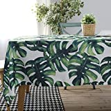 ColorBird Palm Leaf Tablecloth Waterproof Cotton Table Cover for Kitchen Dinning Tabletop Linen Decoration (Rectangle/Oblong, 55 x 70 Inch)