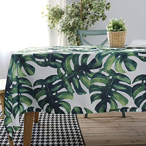 ColorBird Palm Leaf Tablecloth Waterproof Cotton Table Cover