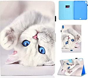 Lovely Cat iPad Pro 11 Case, Cute White Cat Folio PU Case for iPad pro 11 inch Case Pretty Lovely Kitty with Beautiful Blue Eyes Protection Trifold Cover Case with auto Sleep/Wake Function