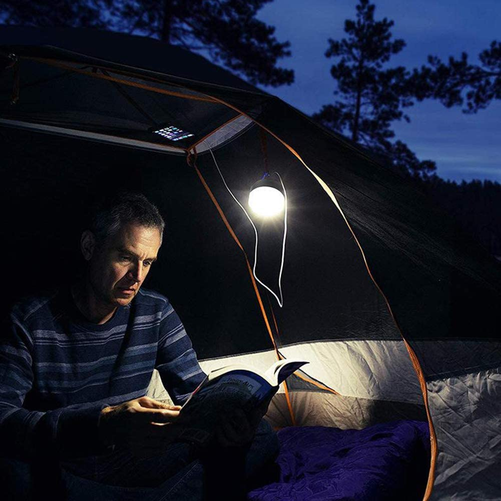 Outdoor LED Camping Light Lamp Solar USB Powered 2000mAh Portable Rechargeable Tent Lantern with Hook 4 Modes Small Waterproof Power Bank for Hiking Emergencies