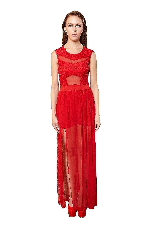YiYiFS® Frauen schließen Nachtwäsche Nachtclub über Knie Ärmelloses Kleid ED111