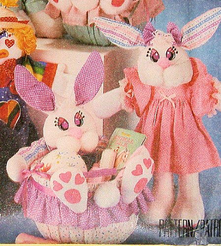 McCall's 3569 Pattern Heart and Sole Clown Bear Rabbit Dolls and Buckets