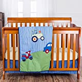 3 Piece Baby Boys Blue Green Cars and Trucks Crib Bedding Set, Newborn Red Tractor Nursery Bed Set, Motorcycle Vehicle Transportation Cute Adorable Infant Child Comforter Blanket, Cotton Polyester