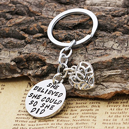 Family Friend Gift Silver She Believed She Could So She Did Double Pendant Key Chain Ring for Women Girl Photo #7