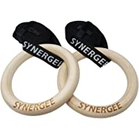 """iheartsynergee 9.25"""" Diameter Wood Olympic Gymnastics Rings Adjustable Straps Crossfit Pull Up   Dips   Muscle Ups"""
