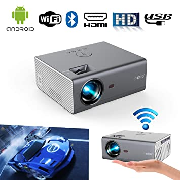 LED Portátil WiFi Bluetooth Proyector HDMI Airplay Soporte 1080P LCD HD Inteligente Android Proyector inalámbrico Interior Al Aire Libre con Altavoces ...