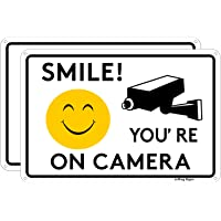 Joffreg Smile You're on Camera,Video Surveillance Sign,UV Protected,Fade Resistant,Indoor Or Outdoor Use,20 x 30 cm…