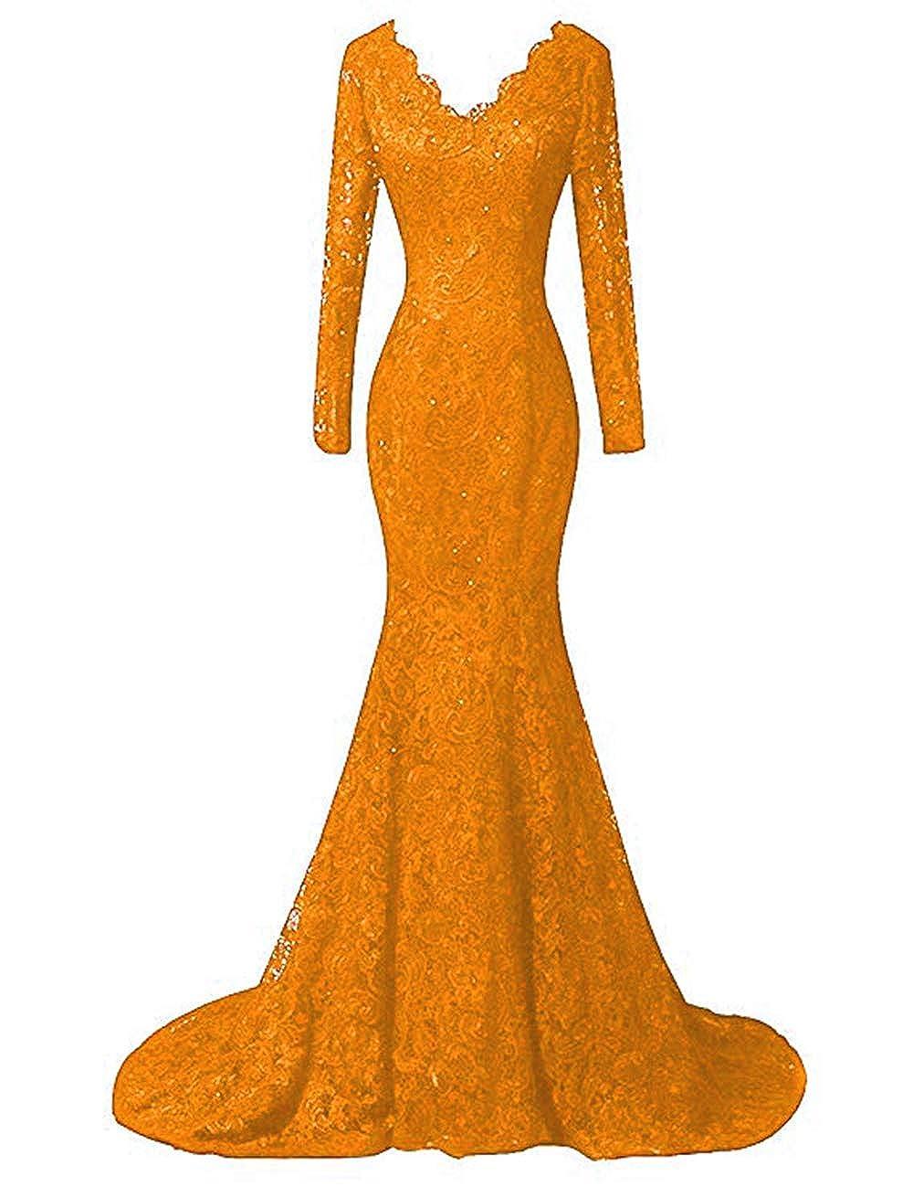 orange Ri Yun Women's Elegant Long Sleeves Lace Prom Dresses Mermaid VNeck Beaded Formal Evening Party Gowns