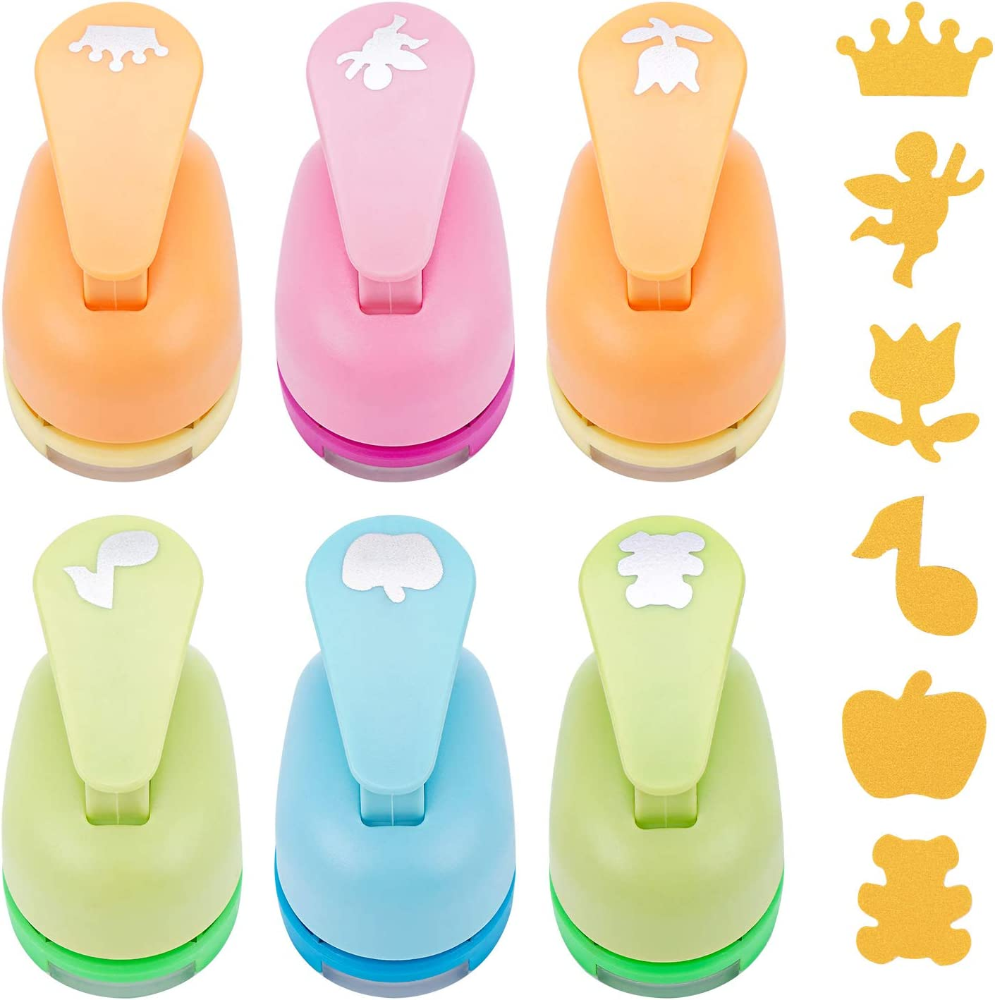 Hole Paper Puncher, Dynvue 6pcs 1inch Punch for Paper Sheet Handmade Scrapbooking Crafting Cards Design in Office School Studio Bear Music Apple Rose Crown Angel Shape
