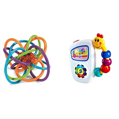 Manhattan Toy Winkel Rattle and Sensory Teether Toy with Baby Einstein Take Along Tunes Musical Toy Bundle: Toys & Games