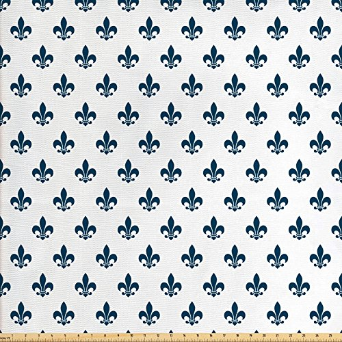 Fleur De Lis Upholstery - Ambesonne Fleur De Lis Fabric by The Yard, Illustration of Fleur-de-Lis Motif Lily Shades Ornament Minimalistic, Decorative Fabric for Upholstery and Home Accents, Cream Night Blue