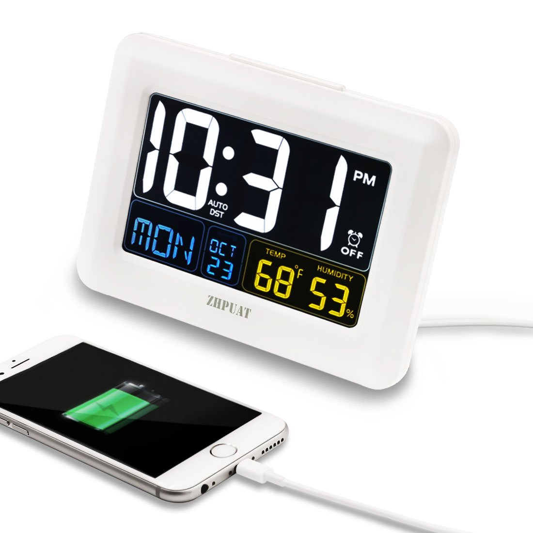 [Upgrade Version] ZHPUAT Digital Alarm Clock Auto Brightness, Both USB Battery Operated, 6 Grades Adjustable Light, 4 Time Zones Auto DST Bedrooms, White