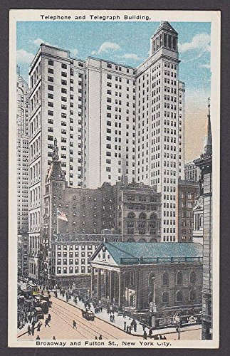 (Telephone & Telegraph Building Broadway & Fulton New York NY postcard 1920s )