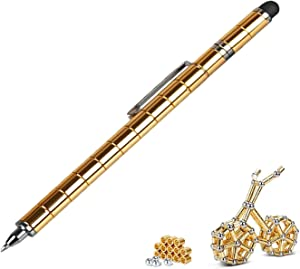 Awkpow Magnetic Metal Pen, Capacitive Pen, Decompression Creative Fidget Toy for Students Office Worker Designer Writing, iPhone iPad Touch Screen Pen,Birthday Gift Pen for Kids (Gold)
