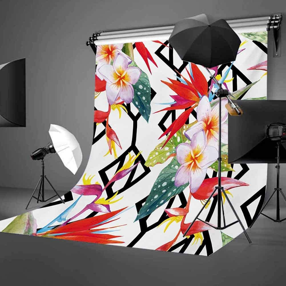 Beautiful Vibrant Colored Exotic Flowers on Absract Shapes Natural Way of Life Background for Kid Baby Boy Girl Artistic Portrait Photo Shoot Studio Props Video Drape 6.5x10 FT Photography Backdrop