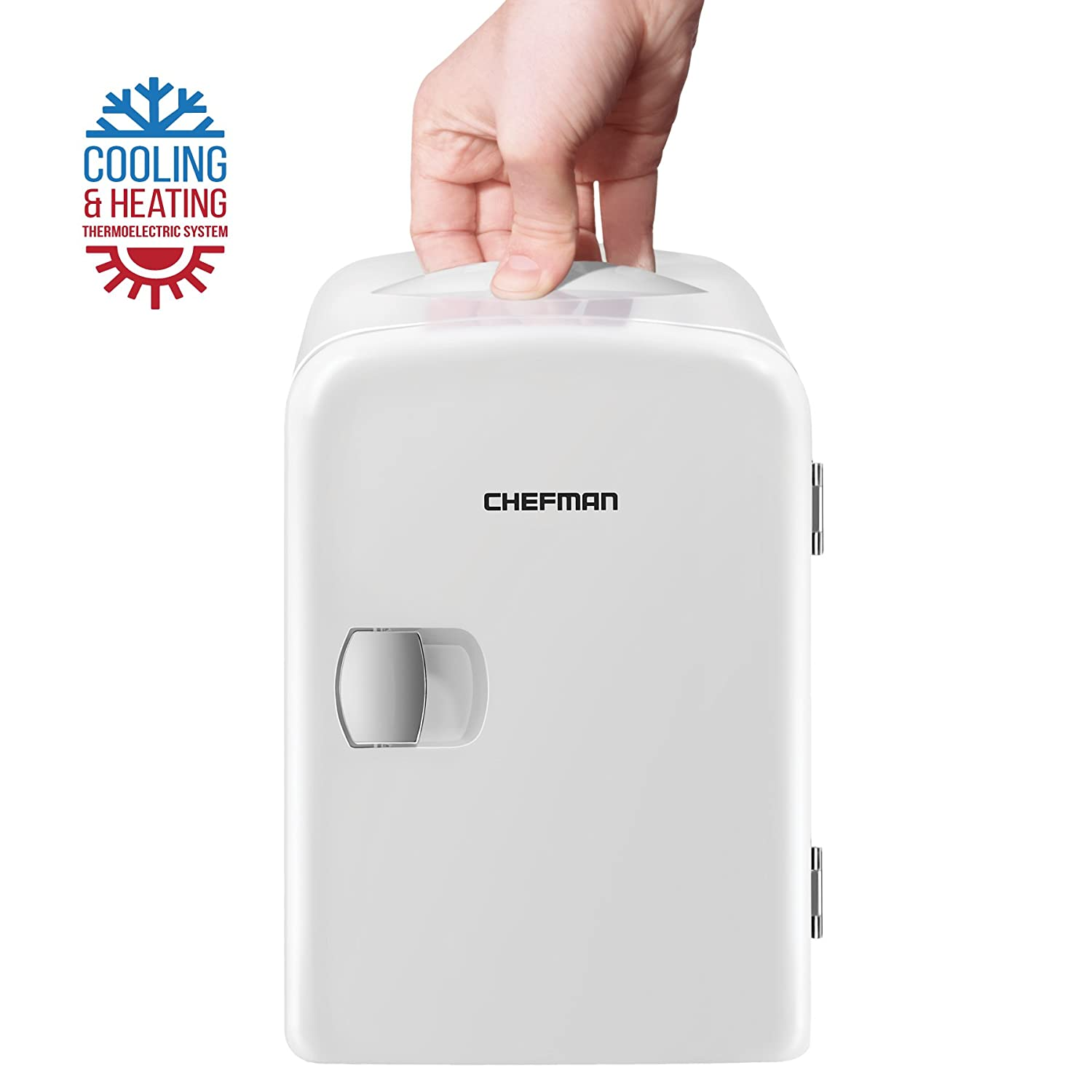 Chefman Portable Compact Personal Fridge Cools & Heats, 4 Liter Capacity Chills Six 12 Oz Cans, 100 Percents Freon Free & Eco Friendly, Includes Plugs For Home Outlet & 12 V Car Charger  Rj48 White by Chefman
