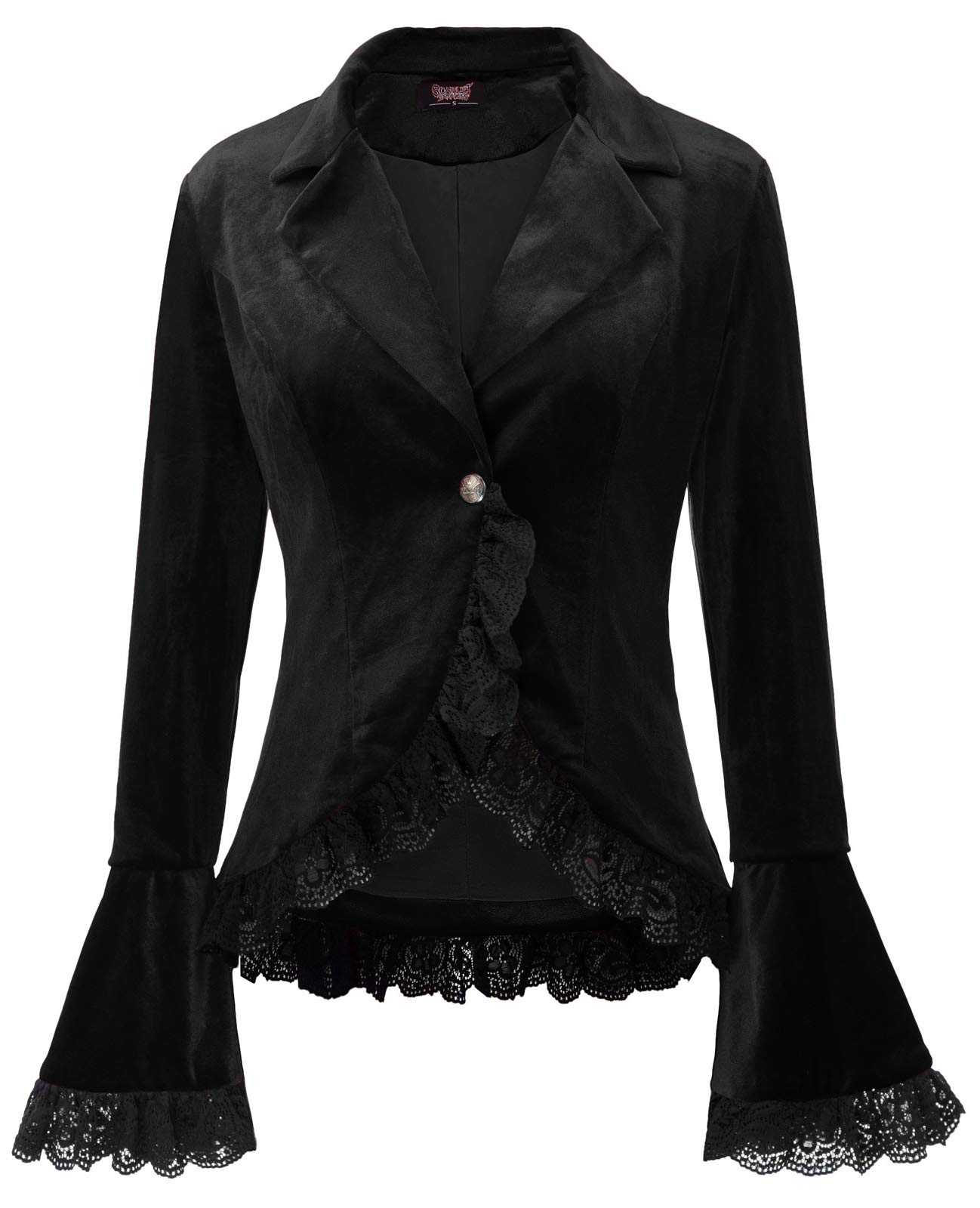 SCARLET DARKNESS Women Victorian Gothic Long Sleeve Lapel Collar Lace Trim Velvet Coat
