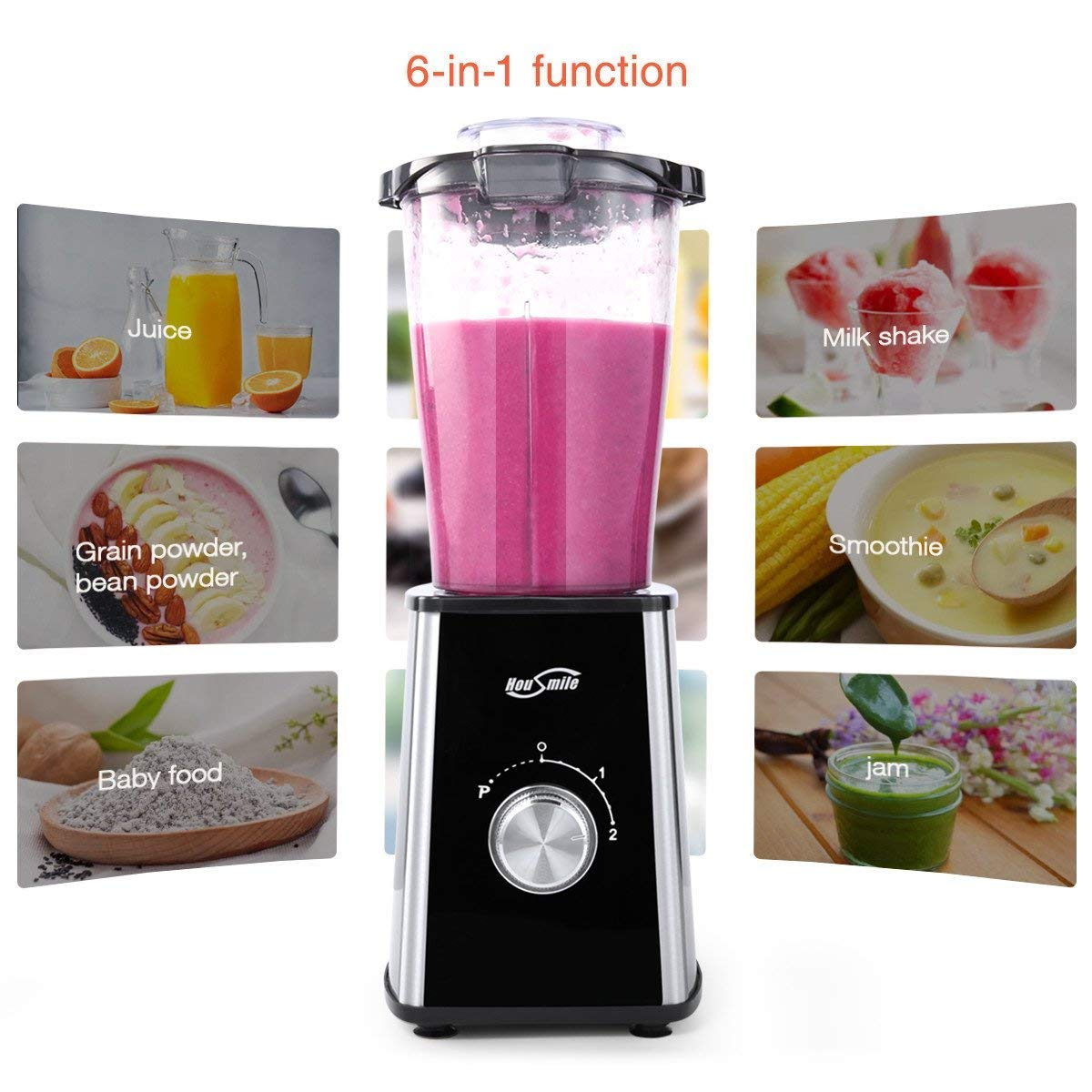 Housmile Smoothie Blender, 7-Piece Countertop with 300 Watt Base, High-Speed for Shakes and Smoothies & Ice, Ice, White by Housmile (Image #4)
