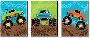 Big Dot of Happiness Smash and Crash - Monster Truck - Boy Nursery Wall Art and Kids Room Decor - 7.5 x 10 inches - Set of 3 Prints