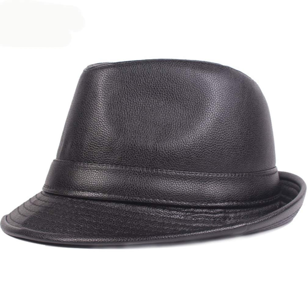f4e2f4227 PU Leather Fedora Hat for Men Women Classic Short Brim Jazz Hats ...