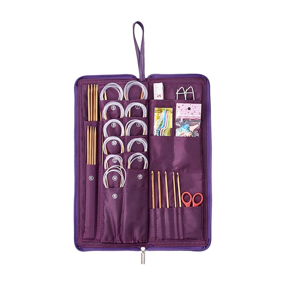 Pandahall 134pcs Knitting Crocheting Tool Stitch Holders Crochet Hooks Needles Locking Stitch Markers Needle Stoppers Cable Knitting Needles Double Pointed Knitting Needles Circular Knitting Needles