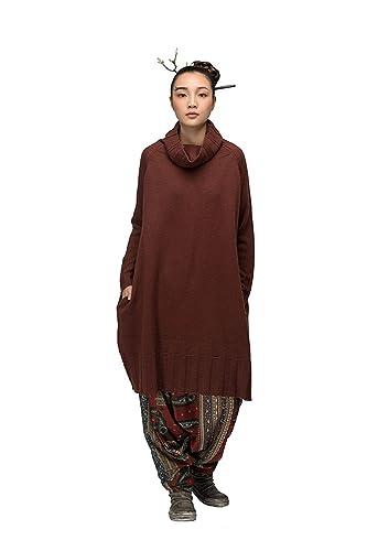 JIQIUGUER Donna Maglione Invernale Elegante Casual Moda Maniche Vestito Lunghe
