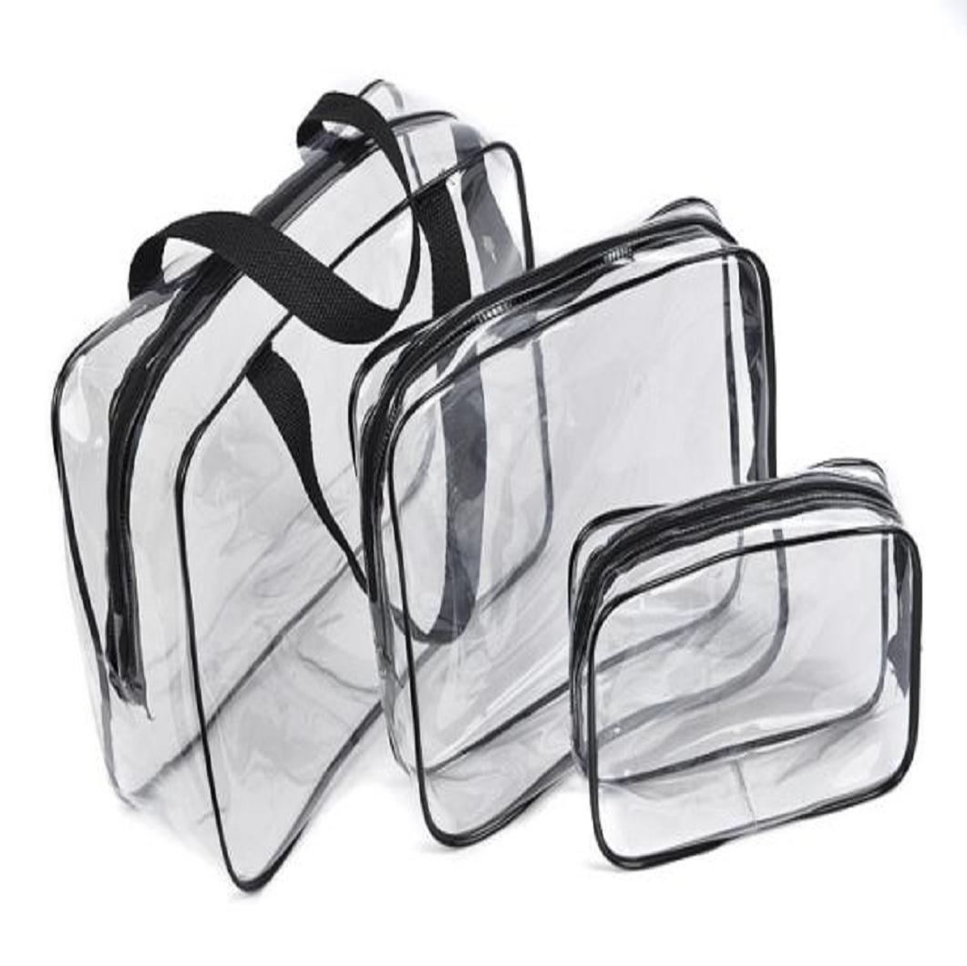 Beauty Case BZLine, 3Pcs Borsa da Viaggio - Borsa Trucco Trasparente in PVC - Multifunzionale ed Impermeabile (Blu) BZL-01