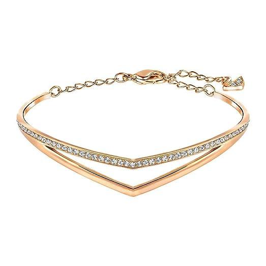 Amazoncom Swarovski Rose GoldTone Alpha Bracelet Jewelry