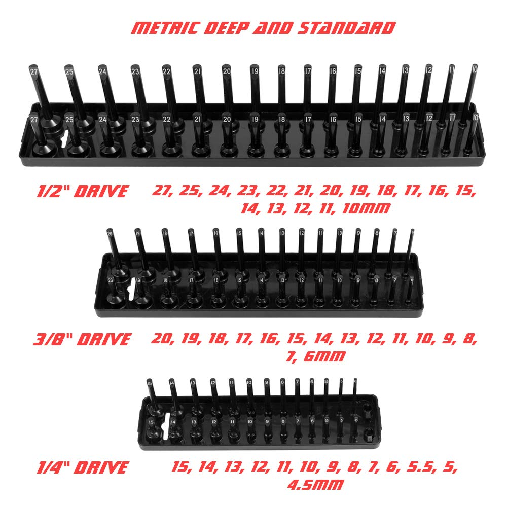 3//8 Socket Trays,Socket Organizer Tray Set and 3PCS Metric 1//4 Black Plastics Organizer Accessories,Fit for Socket Size: 1//2 KKmoon 3PCS SAE red