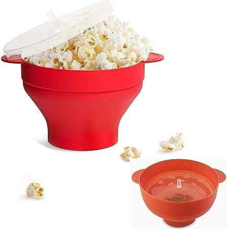 Recipiente de silicona para el fabricante de palomitas de maíz para microondas, fabricante de palomitas de maíz de silicona para el hogar, cuenco plegable sin BPA - use cualquier grano, sal, aceite: