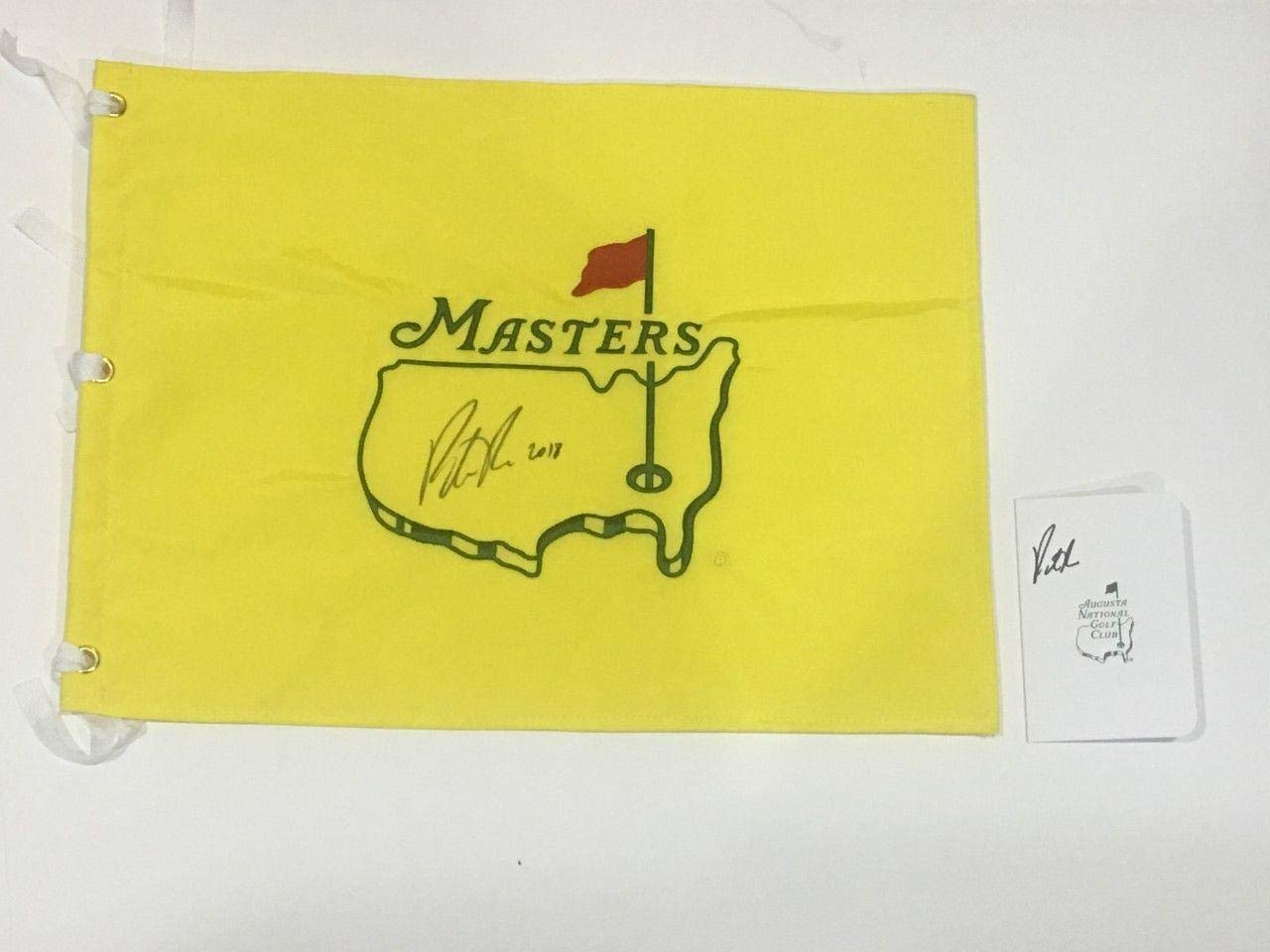 Patrick Reed Signed Undated Masters Flag & Scorecard 2018 Inscription Champion Autographed Pin Flags