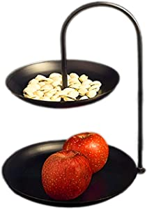 Double Tier Tray Fruit Basket Rack Stand Holder for Kitchen Vegetables Snacks Candy Organizer Cosmetic Serving Decorative Jewelry Metal Food Home Storage Centerpiece (Black)