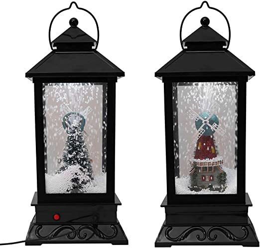 Amazon Com Highpot Christmas Snow Globe Water Lantern Lamp With Music Santa Snowflakes Led Lights And Music Playing Table Top Decoration Gift D Home Kitchen