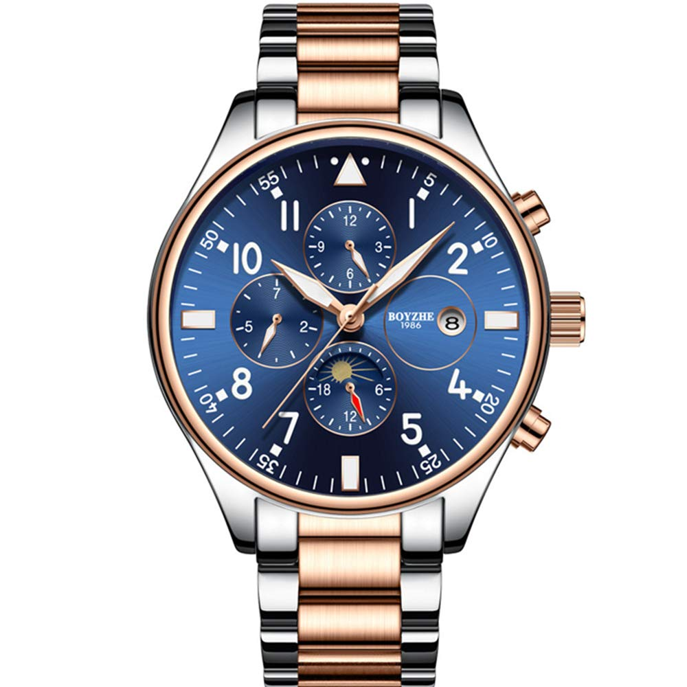 Men s Automatic Mechanical Watches Luxury Business Stainless Steel Waterproof Watch for Men with Date Moon Phase Display