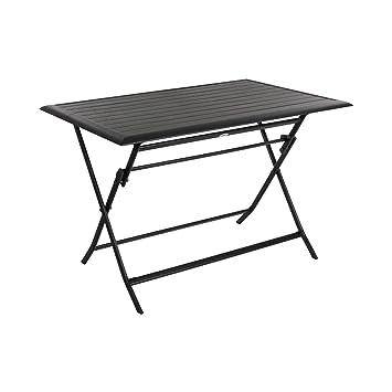 Table pliante rectangulaire Azua - 4 Places - Graphite: Amazon.fr ...