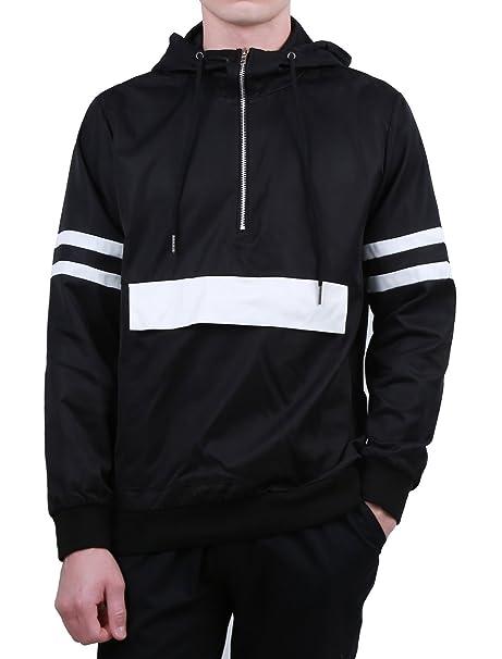 09bb7ef1f uxcell Men Half Zip Striped Lightweight Windbreaker Pullover Jacket Hoodie