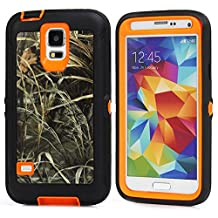 MOONCASE Galaxy S5 Case, [Realtree Camo Series] 3 Layers Heavy Duty Defender Hybrid Soft TPU +PC Bumper Triple Shockproof Drop Resistance Protective Case Cover for Samsung Galaxy S5 -Orange Grass