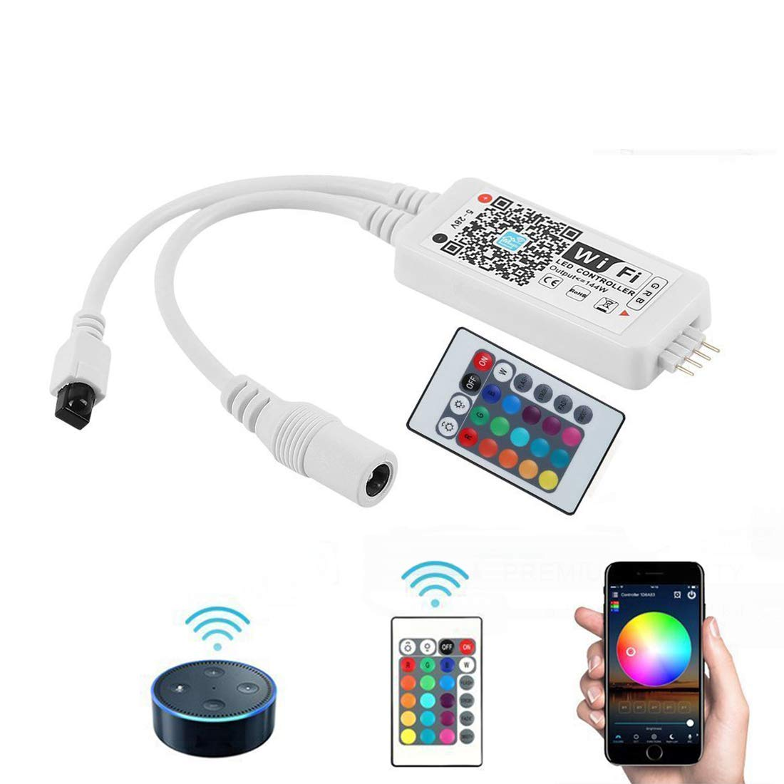 Opard WiFi RGB LED Controller Box Working with Alexa Android IOS System Phone IR Remote Control for RGB Light Strip 5050 3528