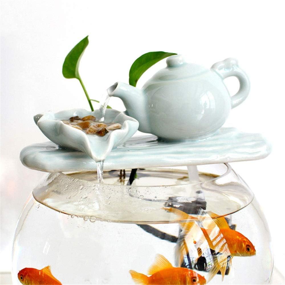 ChengBeautiful Fuente de Interior Tanque de Peces pequeños Filtrado aireador de cerámica Característica Ronda de Agua Decorativa Fuente de Agua de Mesa (Color : Photo Color, Size : 19x38x42cm)