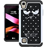 LG Tribute HD Case, LG X Style Case, LG Volt 3 Case, UrSpeedtekLive[Shock Absorpt] Studded Rhinestone Bling Hybrid Dual Armor Defender Cover Case for LG Tribute HD / X Style / Volt 3 - Don't Touch