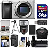 Sony Alpha A6300 4K Wi-Fi Digital Camera Body (Silver) with 64GB Card + Case + Flash + Battery & Charger + Grip + Tripod + Kit