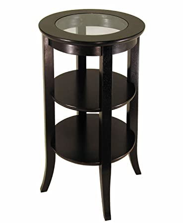 Captivating Frenchi Furniture Wood Round Side /Accent Table , Inset Glass, Two Shelves
