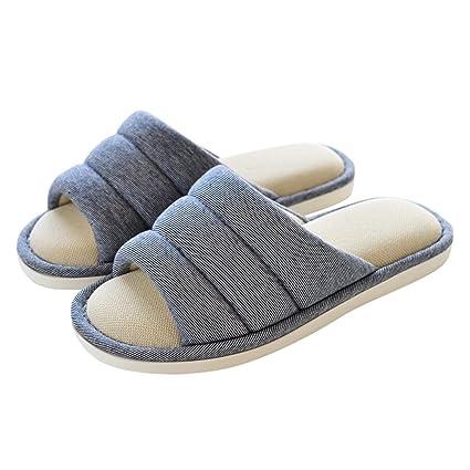 Cómodo Primavera y verano hombres y mujeres caseras zapatillas otoño caída piso interior pantuflas resbaladizas zapatillas