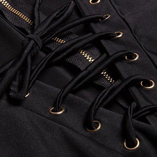 Beauty7 ES 34 Deep V Cuello Vestido de Vendage Muelle Hueco Falda Club Nocturno Noche Coctel Vestidos Mujeres Manga Larga Negro Rojo Vino Tinto Negro
