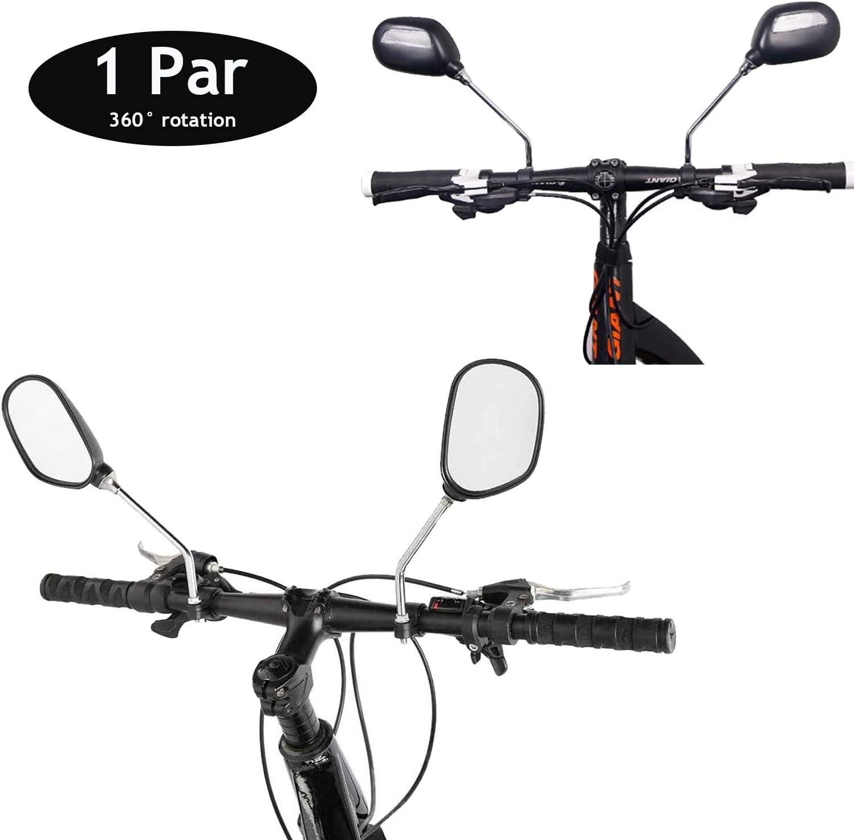 2PCS Bicycle Rear View Bike Cycling Handlebar Safety Rearview Mirror Rectangular