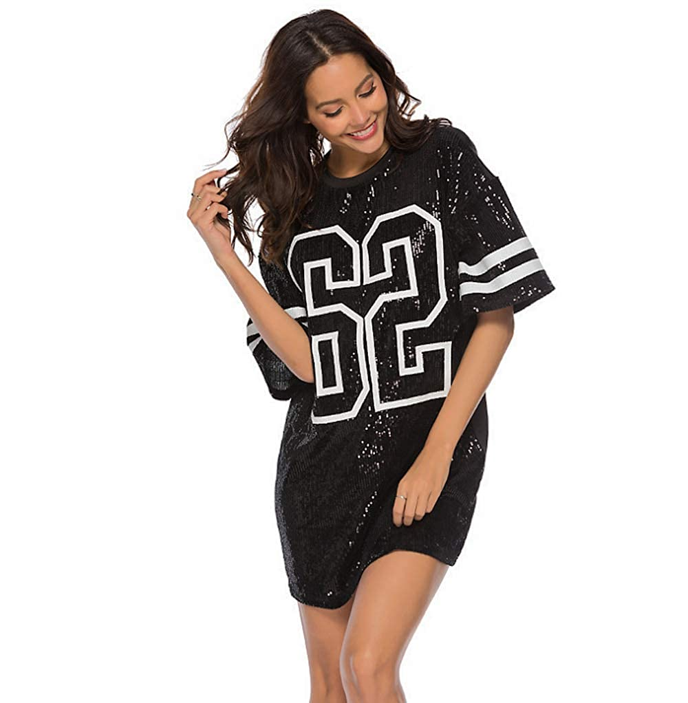 2103f0813c0 Baggy Sequin T Shirt - Jersey Shirt Dress Club Top Hip Pop Dance top Night  Out Dress Black at Amazon Women s Clothing store